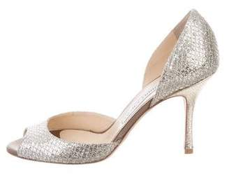 Jimmy Choo Glitter Peep-Toe d'Orsay Pumps