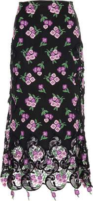 Paco Rabanne Floral-Appliquéd Guipure-Lace-Trimmed Skirt Size: 34