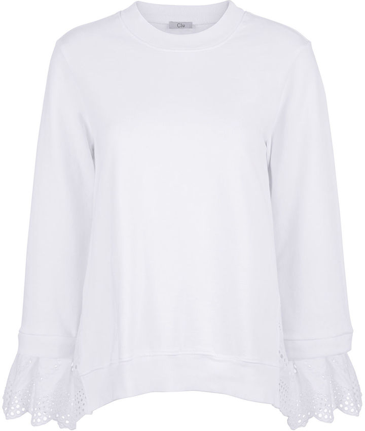 Clu Clu White Mix Media Sweatshirt