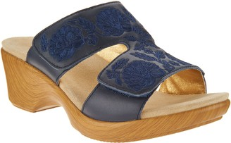 3a4dd3857abc Alegria Embroidered Leather Slip-on Wedge Sandals - Linn
