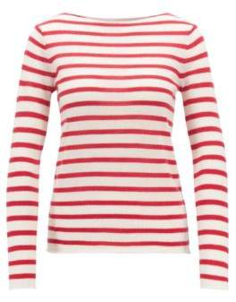 BOSS Striped loose-knit sweater in pure cashmere