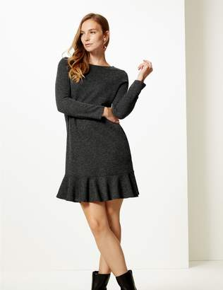 Marks and Spencer Textured Long Sleeve Shift Dress