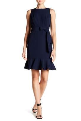 London Times Solid Crepe Belted Ruffle Hem Dress