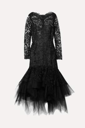 Oscar de la Renta Corded Lace And Tulle Dress - Black