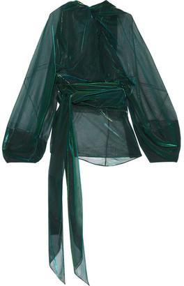 Maison Margiela - Metallic Chiffon Blouse - Emerald $2,475 thestylecure.com