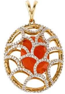 Arya Esha 14K Diamond & Carnelian Pendant