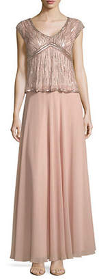 J Kara Beaded Chiffon Gown
