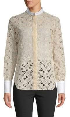 Valentino Eyelet Cotton Button-Down Shirt