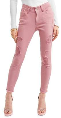 Wallflower Juniors' Distressed Luscious Curvy Ankle Jeans