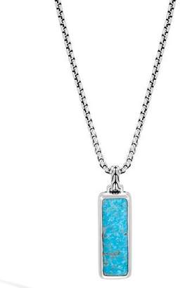 "John Hardy Men's Classic Chain Turquoise & Silver Box Chain Pendant Necklace, 26""L"