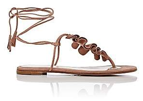 Gianvito Rossi WOMEN'S RUFFLED SUEDE THONG SANDALS