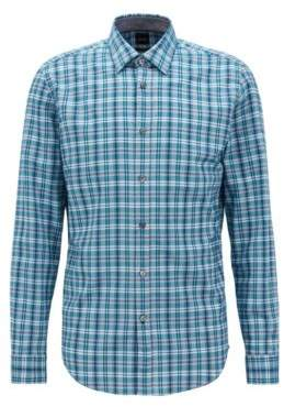 BOSS Hugo Regular-fit shirt in colorful checked cotton S Turquoise