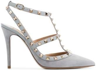 Valentino grey rockstud 100 suede leather pumps