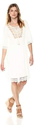 Ella Moon Women's Everlie Kimono Sleeve Embroidered Bib Lace Trim Midi Dress