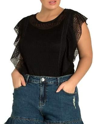 City Chic Plus Flirty Frill Denim Shorts