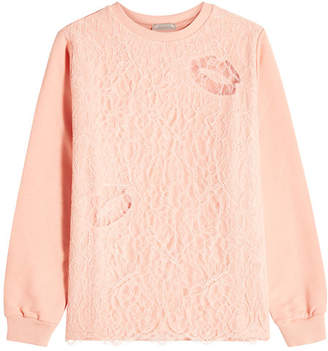 Nina Ricci Cotton Sweatshirt with Lace Overlay