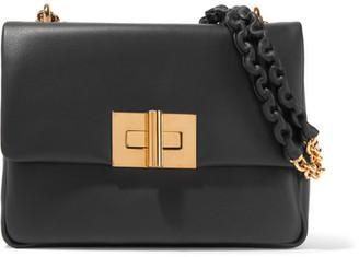 Natalia Medium Leather Shoulder Bag - Black
