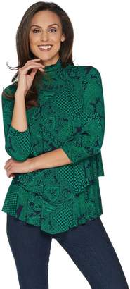 Susan Graver Printed Liquid Knit Mock Neck Tiered Tunic