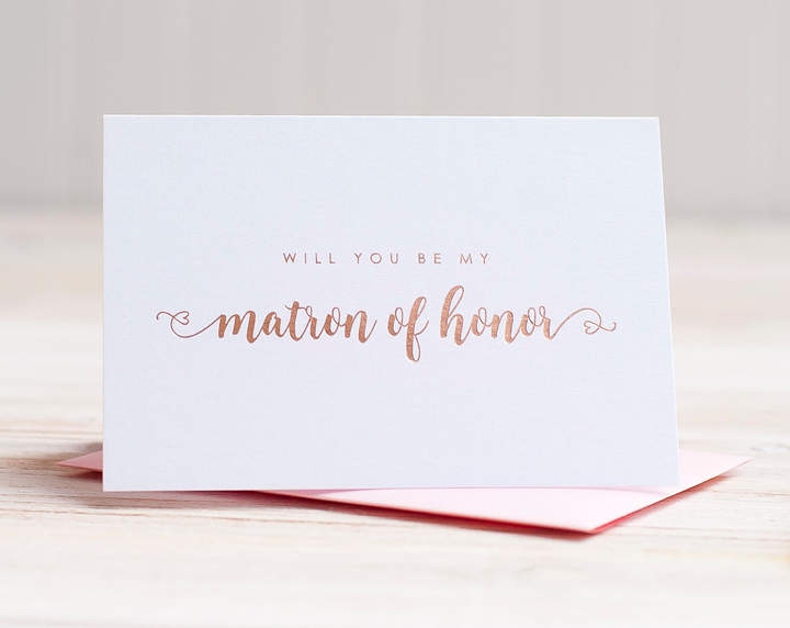 Etsy Will You Be My Matron of Honor Card Rose Gold Foil ask matron of honor proposal gift box wedding par
