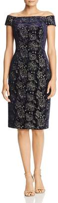 Adrianna Papell Embroidered Velvet Off-the-Shoulder Dress