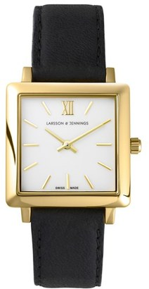LARSSON & JENNINGS 'Norse' Square Leather Strap Watch, 27mm x 34mm $315 thestylecure.com