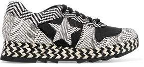 Stella McCartney Macy Faux Suede And Woven Faux Leather Sneakers