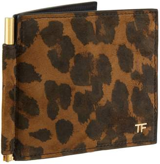 Tom Ford Suede Leopard Print Money Clip Bifold Wallet