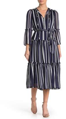 Gabby Skye Metallic Stripe Midi Dress
