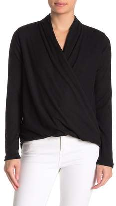 MelloDay Long Sleeve Wrap Front Top