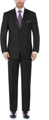 Renoir Big Men's Black Classic Fit Two Piece Notch Collar Tuxedo With Ribbon Finish