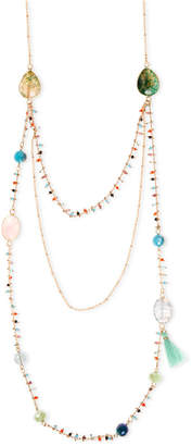 lonna & lilly Gold-Tone Stone and Beads Triple Layer Necklace