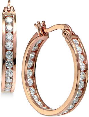 """Giani Bernini Small Cubic Zirconia Inside Out Hoop Earrings in Sterling Silver, 0.75"""""""