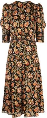 Derek Lam floral print puff sleeve midi dress