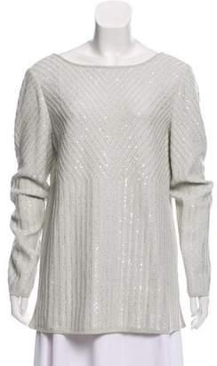 St. John Embellished Scoop Neck Sweater