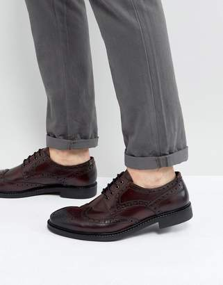 Dead Vintage Brogue Derby In Bordo Leather