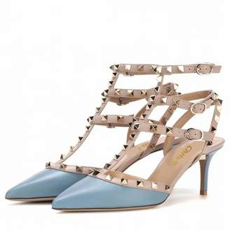 Chris-T Womens Classic Studded Strappy Pumps Rivets High Heels Stiletto Sandals T-Strap Shoes