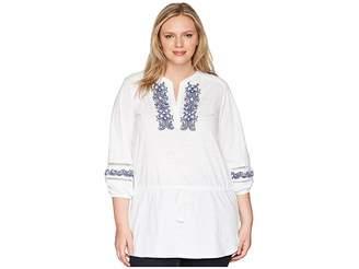 Lauren Ralph Lauren Plus Size Embroidered Cotton Top