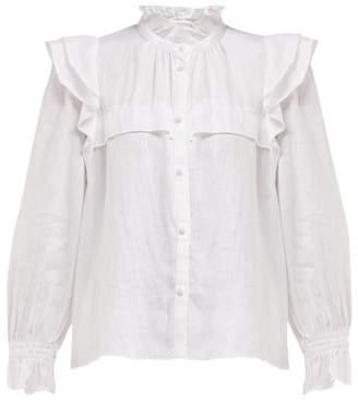 Etoile Isabel Marant Tedy Ruffled Linen Blouse - Womens - White