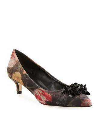 Sesto Meucci Belia Kitten-Heel Velvet Ornament Pumps