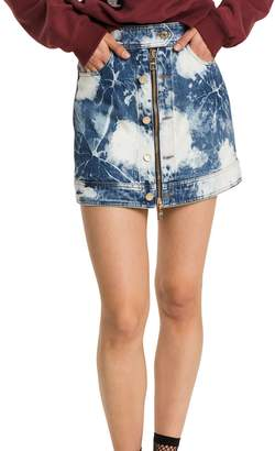 Tommy Hilfiger Bleach Denim Zip Mini Skirt