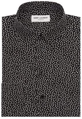 Saint Laurent Silk Polka Dot Print Shirt
