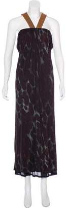 Yigal Azrouel Leather-Trimmed Silk Dress