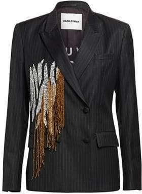 Each X Other Women's Beaded Fringe Pinstripe Blazer - Black - Size Large