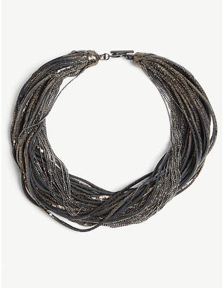 Brunello Cucinelli Layered leather and metal necklace