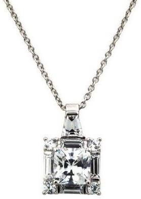 Diamonique 2.50 cttw Princess Cut Pendant,Platinum Clad