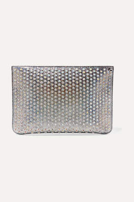 Christian Louboutin Loubiclutch Spiked Glittered Leather Pouch - Silver