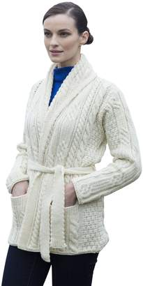Carraigdonn Carraig Donn Irish Shawl Collard Belted Wool Cardigan