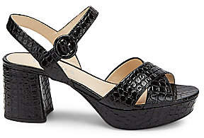 Prada Women's Croco-Embossed Platform Sandals