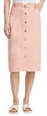 Elizabeth and James Merritt Belted Denim Skirt