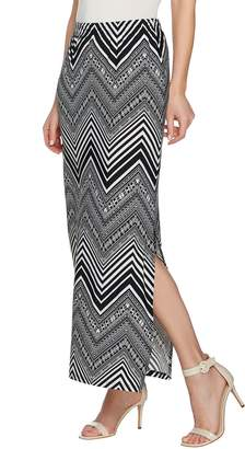 Susan Graver Printed Liquid Knit Maxi Skirt w/ Slit - Regular